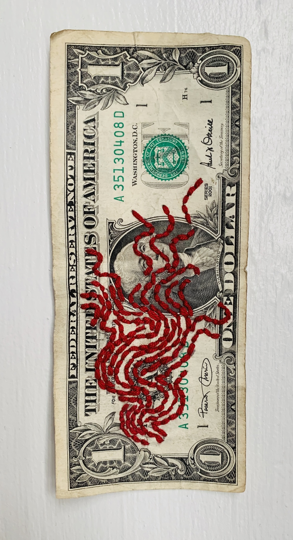 Embroidery: Dollar bills & Blood Clouds  - 2004 to 2009 Flaming Dollar
