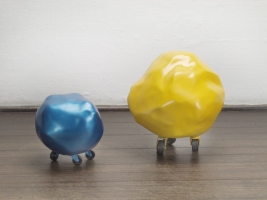 MiYoung Sohn Rocks resin, foam, paint, casters