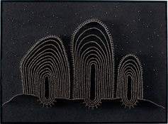 MiYoung Sohn Straight Pins straight pins, india ink, corkboard