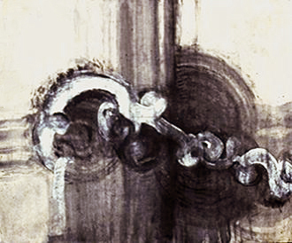 "Swirl Series Untitled, 1997 - Acrylic on newsprint 16""HX22""W"