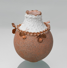 MJ KING Ceramics Slip Cast, Bisque Fired, Glazed Interior, Pink Stone Cold Glaze Exterior, Liquid Copper, Metal Findings, Chain