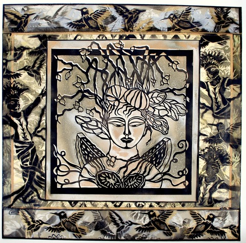 MARYJEAN  VIANO  CROWE VEGETABLE GODDESSES Cut paper and off-set printing