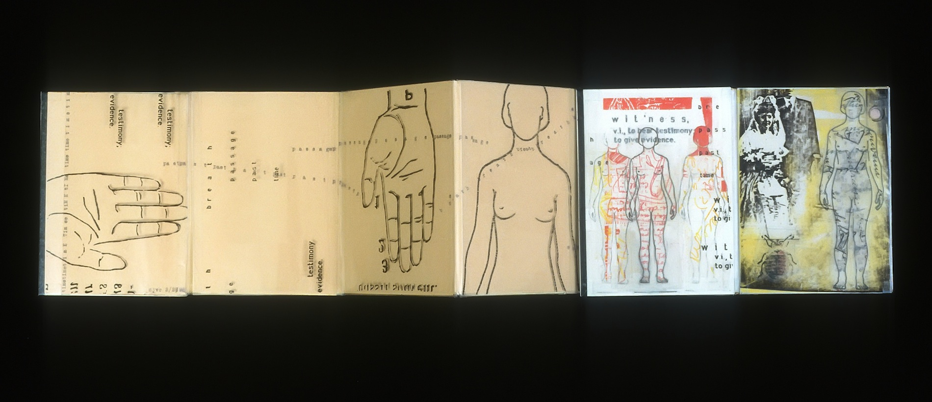 "ARTIST BOOKS ""WITNESS""  Accordion Book:Recto/Verso  1998"