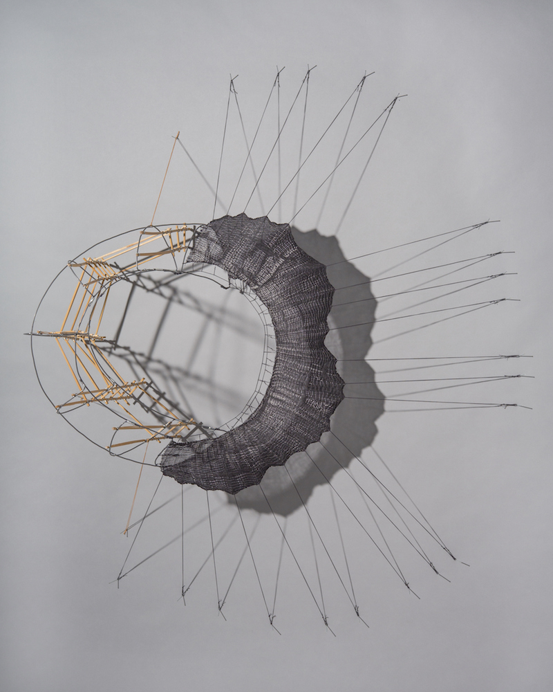 MO  KELMAN Recent Work shibori-dyed and shaped silk, bamboo, steel wire, cordage, nails