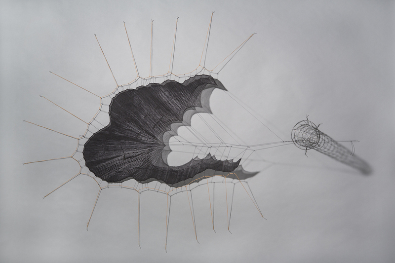 MO  KELMAN Recent Work Shibori-dyed and shaped silk, steel wire, waxed linen, cord, nails