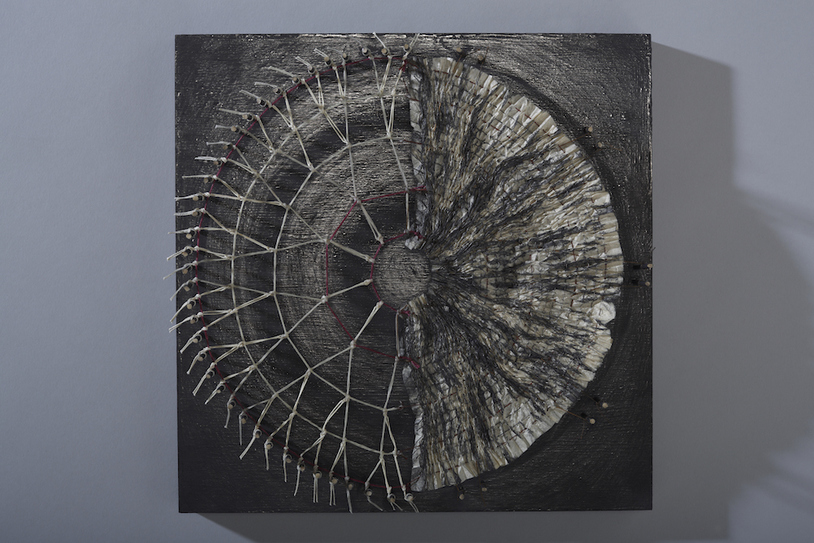 MO  KELMAN Recent Work Handmade gampi paper, wood, linen, thread, graphite, bamboo, stitching