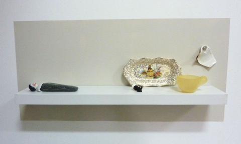 "furnishings shelving, porcelain, stone, ceramic, plastic, metal, eggshell, benjamin moore's ""pale oak"""