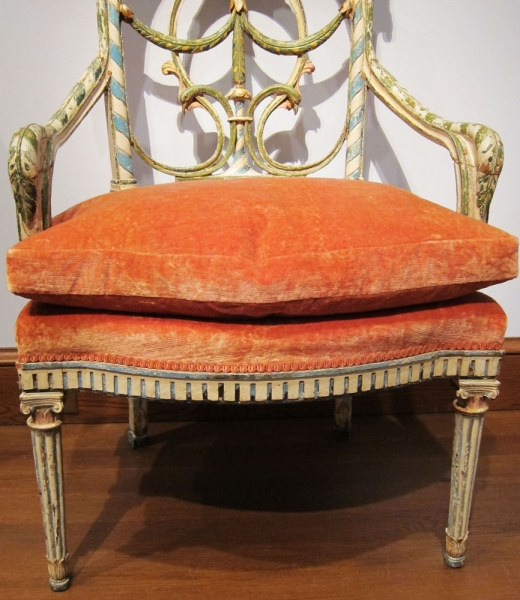 museum orange velvet chair