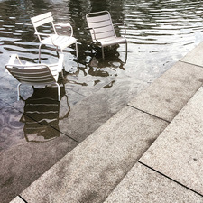 chairs, fountain, hangover
