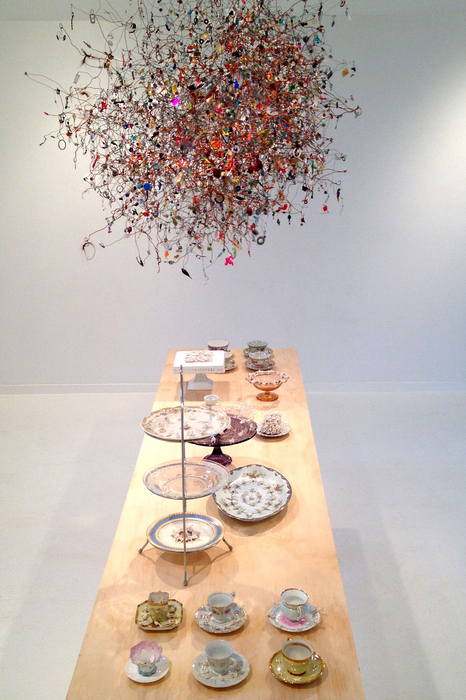 Monica Banks Tea and Sympathy Wire, found objects; porcelain, china, table