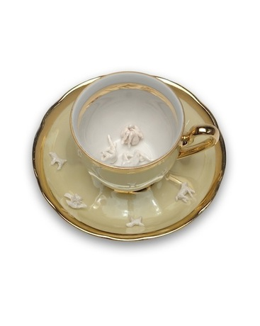 Monica Banks Tea and Sympathy Porcelain with found cup