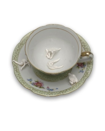 Monica Banks Tea and Sympathy Porcelain with found teacup