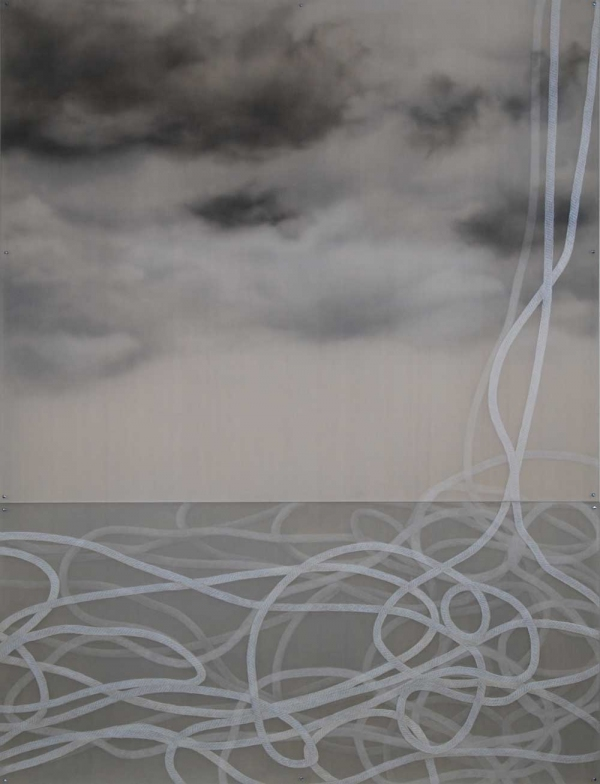Monica Reede Rope 2010 graphite & oil on hand etched Plexiglas on wood panel