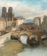 Galerie Nathalie Motter Masselink French School <i>The Small Branch of the Seine and Notre Dame, View from the Former Saint-Michel Bridge</i>