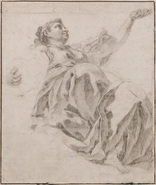 Galerie Nathalie Motter Masselink Italian School <i>A Study of a Female Figure in a Elaborate Drapery, her Left Arm Raised, Seen da sotto in su</i>