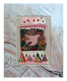 Marjorie Tomchuk Collage embossing with photo collage, marbling