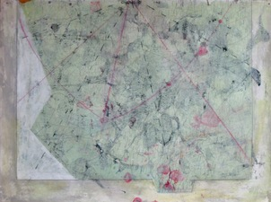 nancy berlin Where next?  2018-2019 mixed media on found map