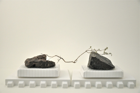 Nancy D. Brown Still, Life Hydrocal, rocks, weed