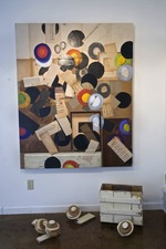 Nancy Ferro Works on wood and canvas Papers, wood, crayon, c. pencil, graphite, and found objects