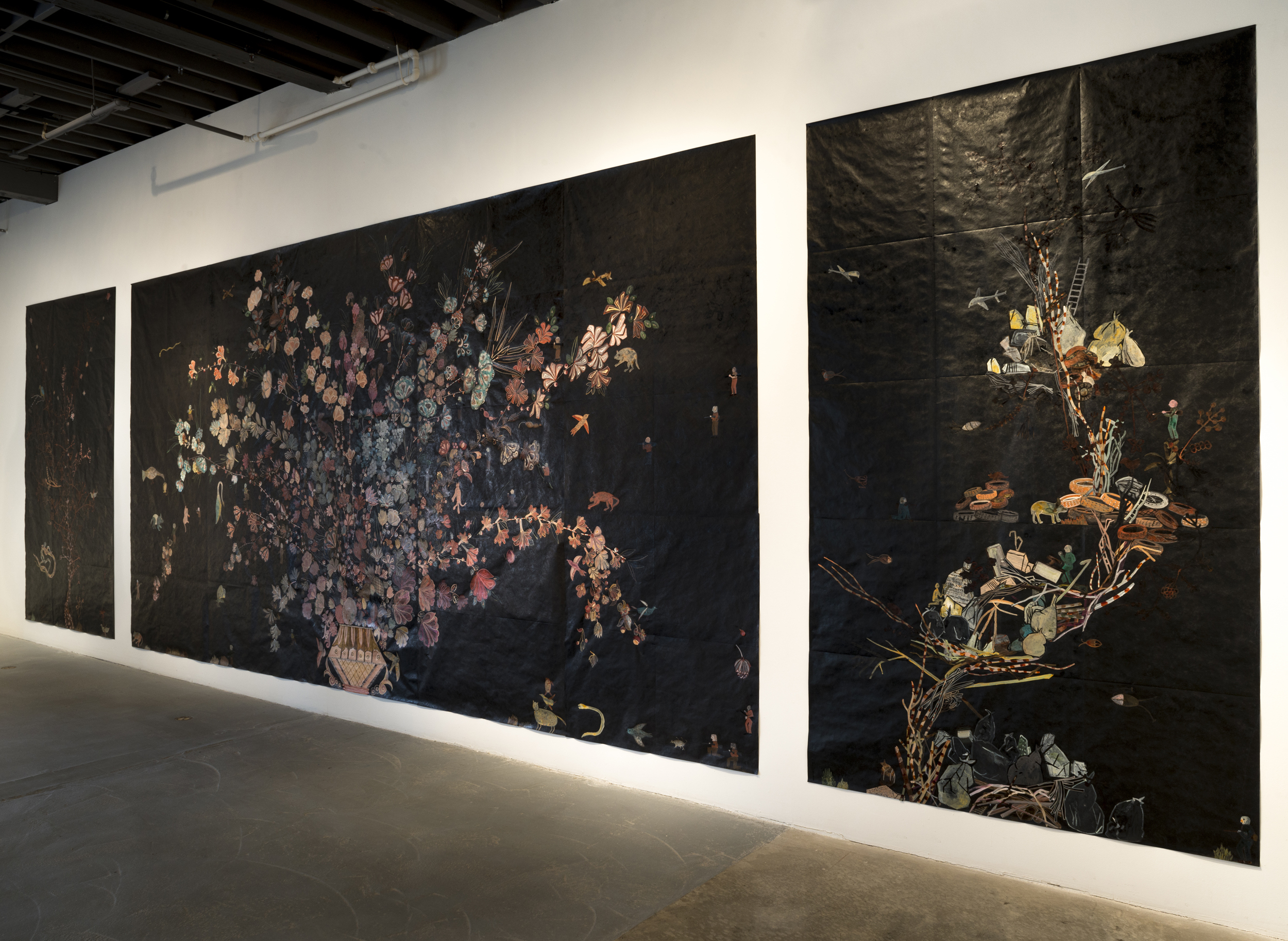 Nancy Friedemann-Sánchez Monarchs, The Bemis Center for Contemporary Arts, 2017-2018 Tyvek mopa mopa, india ink