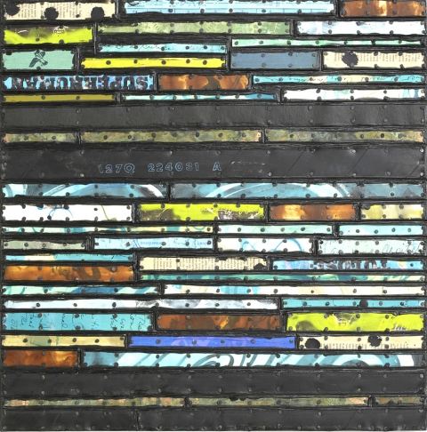 Paintings: Running Stitch Series  Found and invented elements with tacks and encaustic on birch panel.