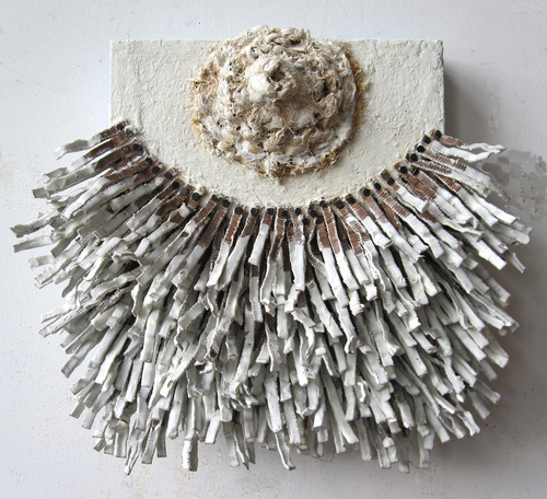 Nancy NATALE Constructions Cardboard, carpeting, tacks and encaustic on panel