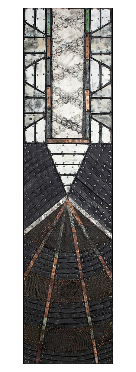 Nancy NATALE Paintings: Dimensional Tarpaper, repurposed rubber, treated metal, found lace, tacks and encaustic on panel