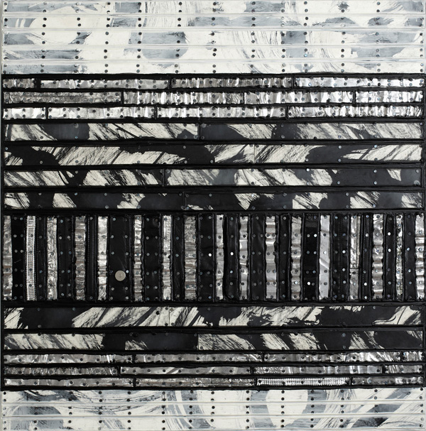 Nancy NATALE Paintings: Dimensional Matboard, ink, encaustic, treated aluminum, repurposed leather from handbags, tacks, on panel