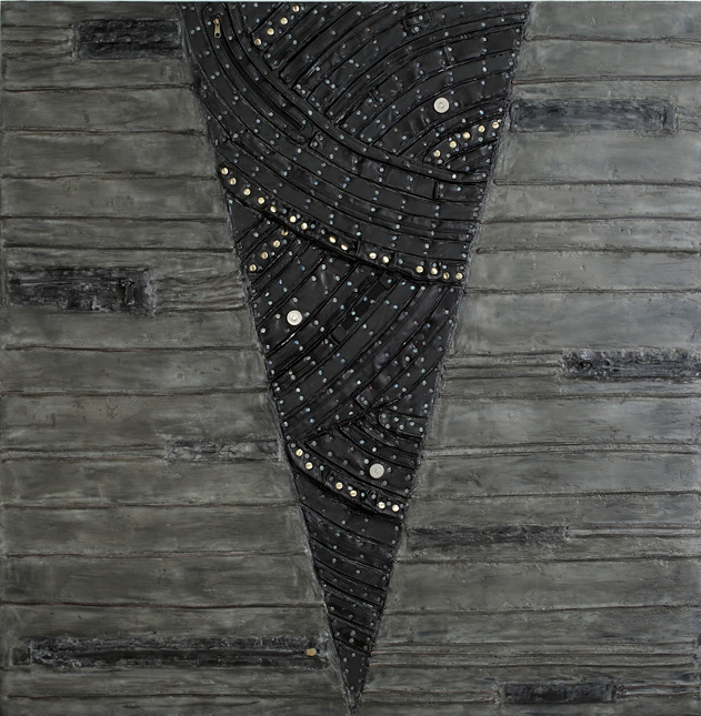 Nancy NATALE Paintings: Dimensional Encaustic, tacks, jute, repurposed leather from handbags