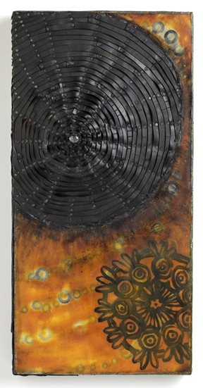 Nancy NATALE Constructions Encaustic with recycled rubber, washers, paint skin, oilstick, patinated copper on panel