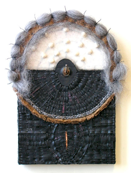Constructions Recycled rubber, tacks, copper, fiber, synthetic hair, recycled nipple, wire, with encaustic paint on two joined panels