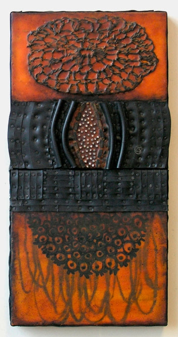 Constructions Encaustic with recycled rubber, tacks, beads, crocheted doily and paint skin on two joined birch panels