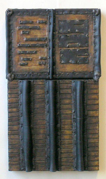 Nancy NATALE Constructions Encaustic with recycled rubber, tacks, fiber, oilstick, oil paint on two joined panels
