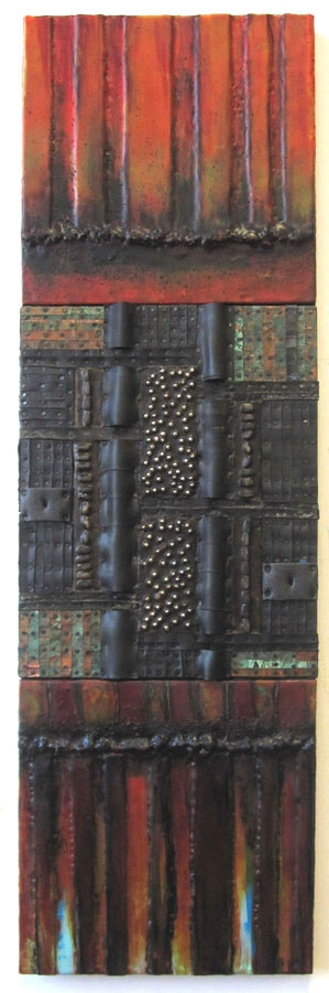 Constructions Encaustic with recycled rubber, patinated metal, tacks, hidden objects, plant parts, dirt, oil stick, oil paint on three joned panels