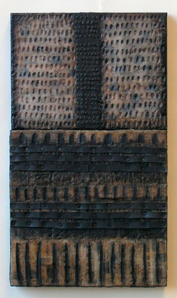 Nancy NATALE Constructions Encaustic with recycled rubber, tacks, oilstick, oilpaint on two joined birch panels
