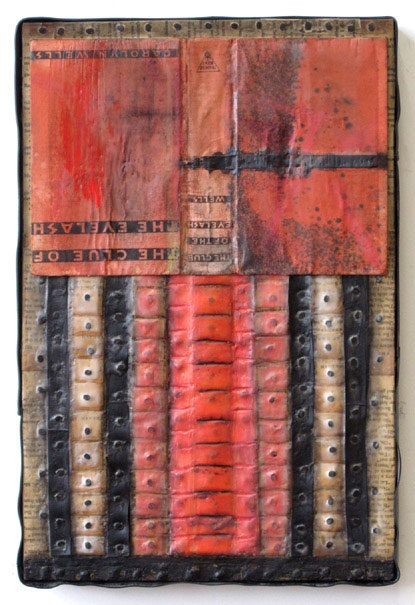 Constructions Book parts, recycled rubber, tacks, encaustic, oilstick, oilpaint on birch panel