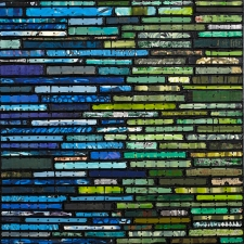 Nancy NATALE Paintings: Running Stitch Series  Found and invented elements with tacks and encaustic on birch panel.