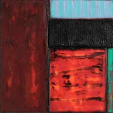 Archive - Sold Work Encaustic, oilstick, carpet remnant, paper, tacks on panel