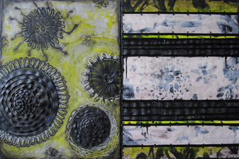 Archived Work 2 Rubber and mixed media with tacks and encaustic on two joined panels