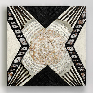 Nancy NATALE Paintings & Constructions Cardboard, carpet, rubber, found lace with tacks and encaustic on panel