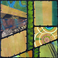 Archived Work 2 Collaged from rescued paintings on paper, mounted on panel with tacks and added encaustic
