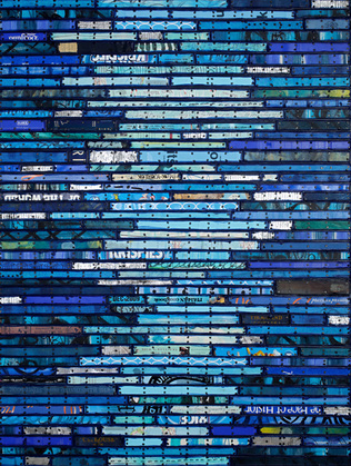 Nancy NATALE Paintings: Running Stitch Series  Found and invented elements with encaustic and tacks on panel