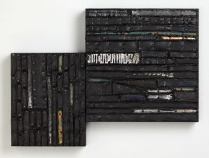 Archive - Sold Work Recycled rubber, patinated metal, tacks - with encaustic paint on joined birch panels