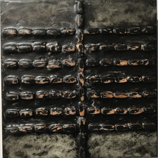 Nancy NATALE New Work - Paintings  Encaustic with found beads and paintstick on panel