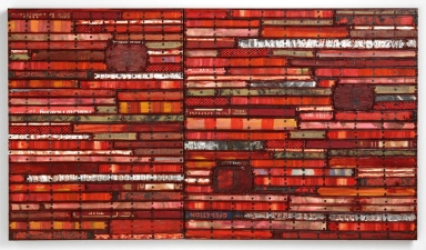Archive - Sold Work Book parts, painted paper and cardboard, recycled rubber, patinated metal, tacks - with encaustic paint on joined birch panels