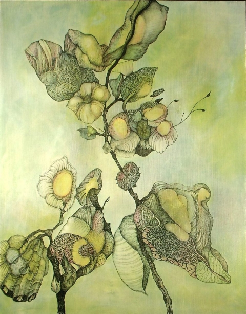 Nancy Reinker Nature's Elements ink, acrylic, pastel