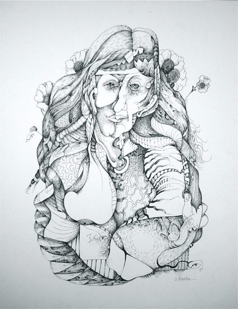 Nancy Reinker Drawings ink on canvas