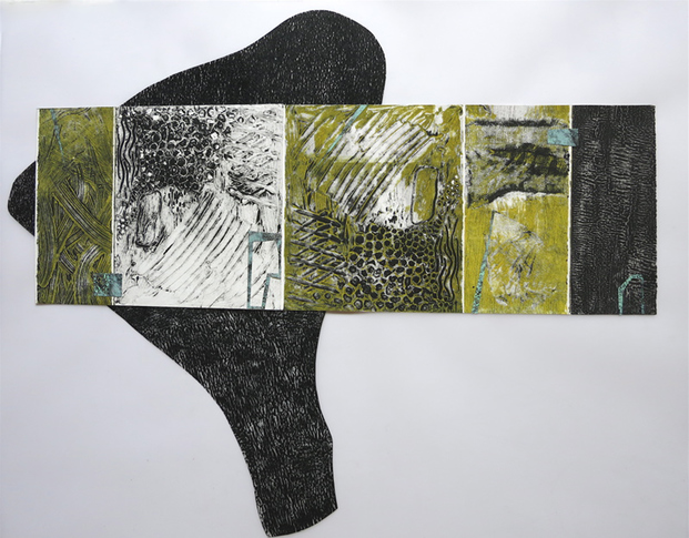 "Nanette Carter  ""The Weight"", Collagraphs 2015"