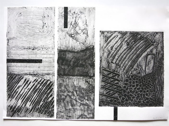 "Nanette Carter  ""The Weight"", Collagraphs from EPI Residency 2015"