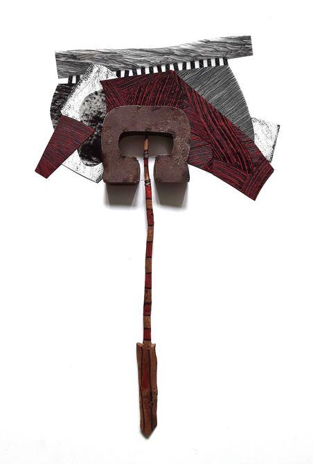 "Nanette Carter  2013 - 2017: ""Cantilevered""  wood, metal, oils and oil stick on Mylar"